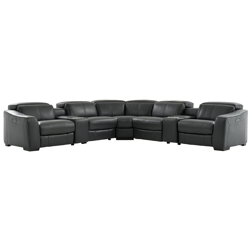 Jay Dark Gray Leather Power Reclining Sectional  main image, 1 of 8 images.