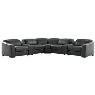 Jay Dark Gray Power Motion Leather Sofa w/Right & Left Recliners
