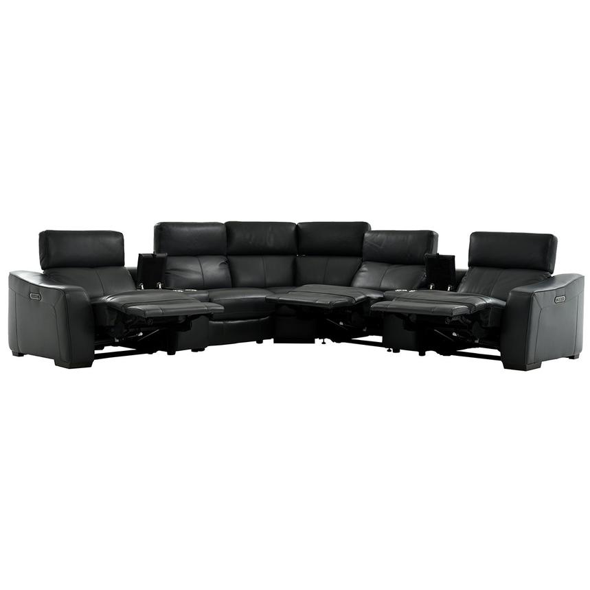 Jay Dark Gray Power Motion Leather Sofa w/Right & Left Recliners  alternate image, 2 of 7 images.
