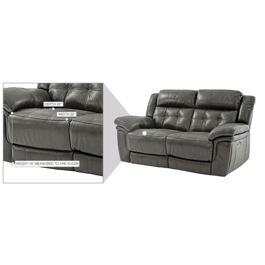 Stallion Gray Leather Power Reclining Loveseat  alternate image, 10 of 10 images.