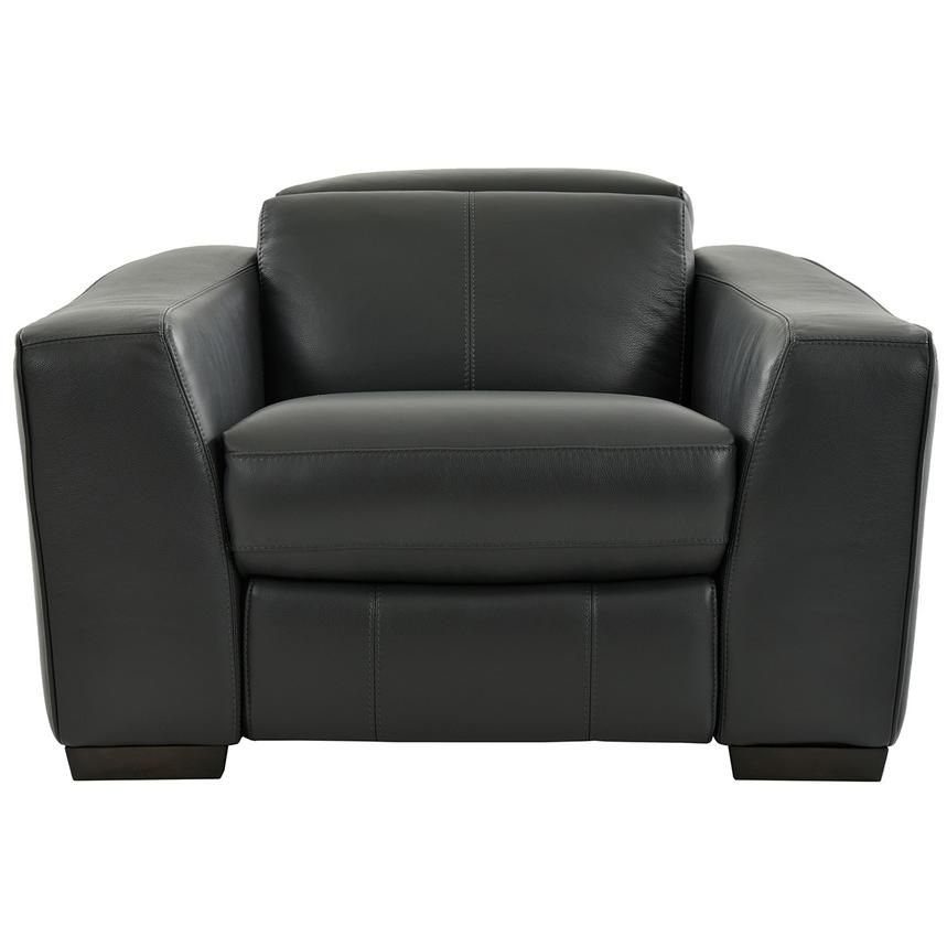 Jay Dark Gray Power Motion Leather Recliner  main image, 1 of 6 images.