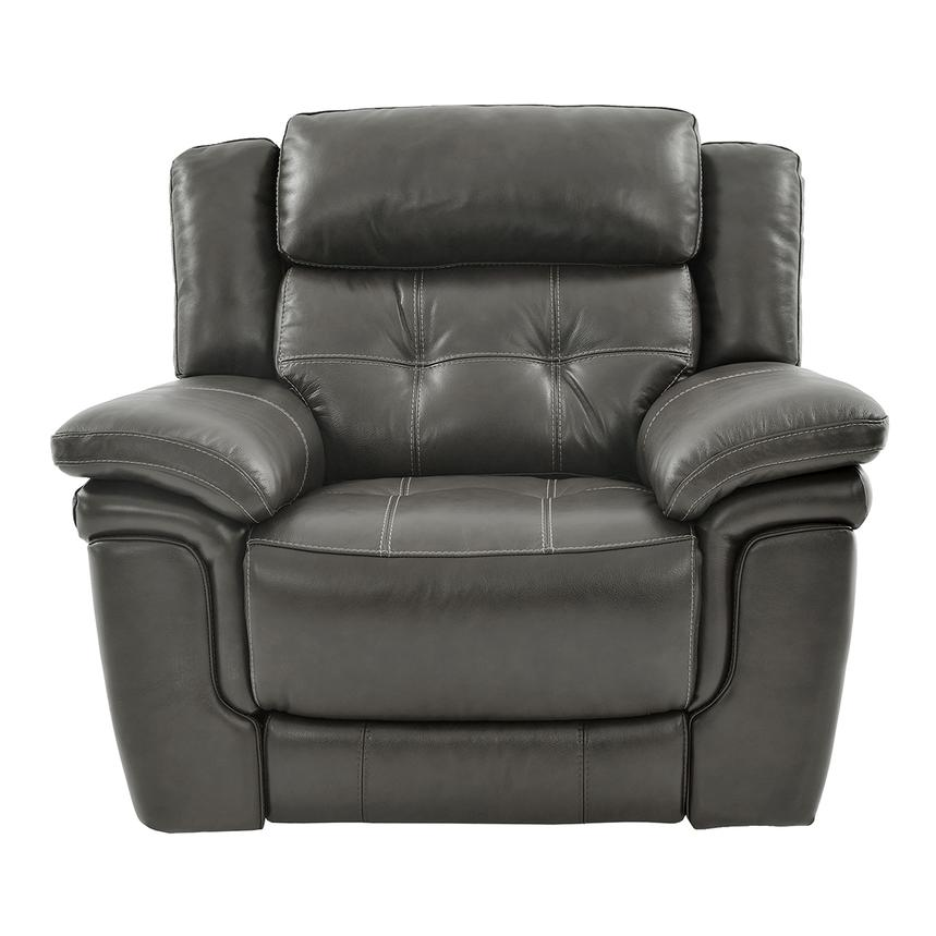 Stallion Gray Leather Power Recliner  main image, 1 of 8 images.