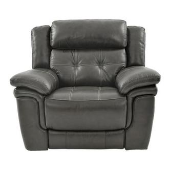 Stallion Gray Leather Power Recliner