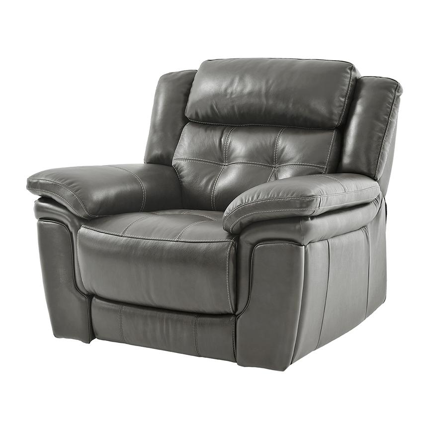 Stallion Gray Leather Power Recliner  alternate image, 2 of 9 images.