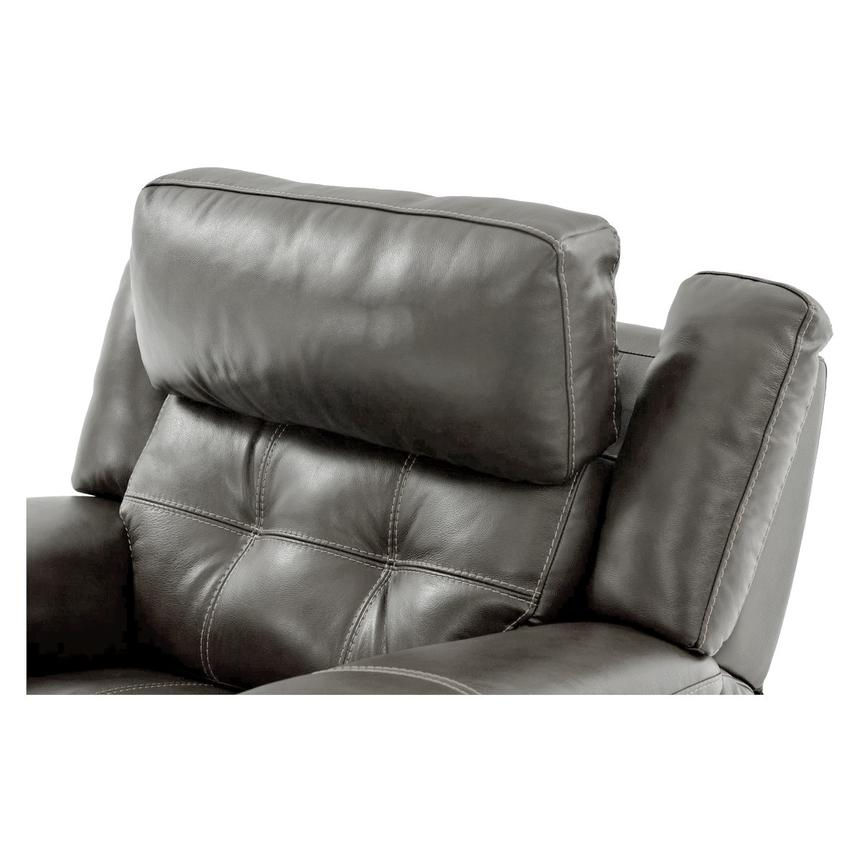 Stallion Gray Leather Power Recliner  alternate image, 6 of 8 images.