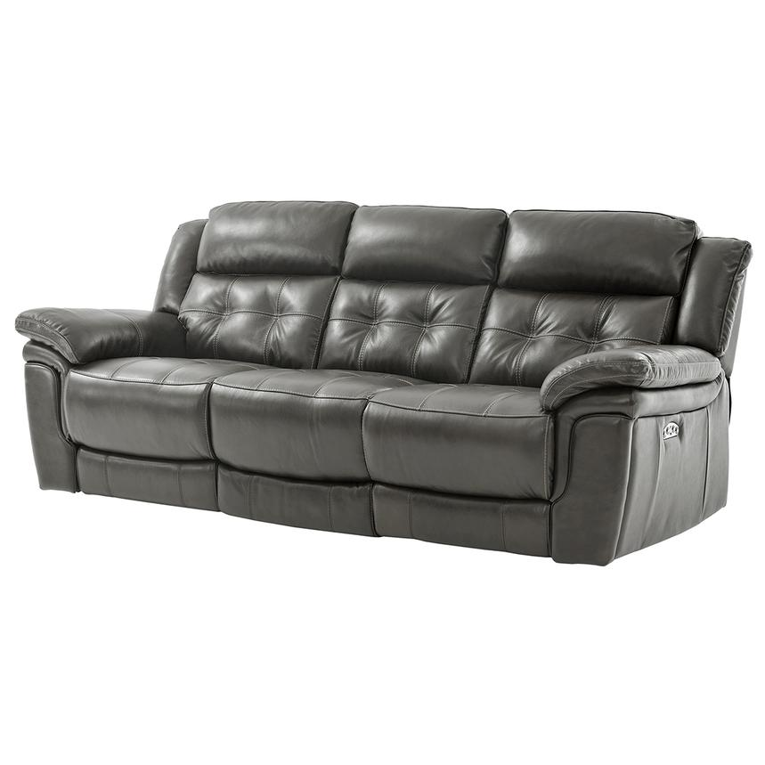 Stallion Gray Leather Power Reclining Sofa  alternate image, 2 of 10 images.