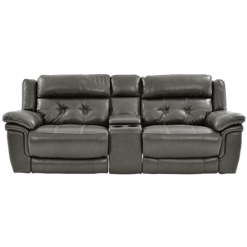 Stallion Gray Leather Sofa w/Console  main image, 1 of 9 images.