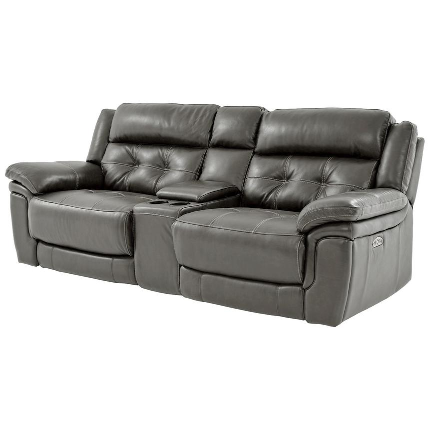 Stallion Gray Leather Power Reclining Sofa w/Console  alternate image, 2 of 10 images.