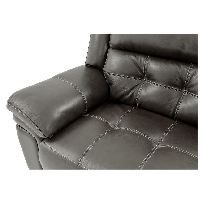 Stallion Gray Leather Sofa w/Console  alternate image, 6 of 9 images.
