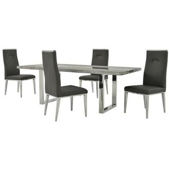Skyscraper/Hyde I Dark Gray 5-Piece Formal Dining Set