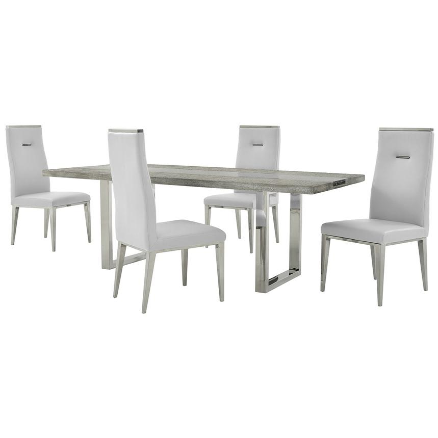 Skyscraper/Hyde White 5-Piece Formal Dining Set  main image, 1 of 12 images.