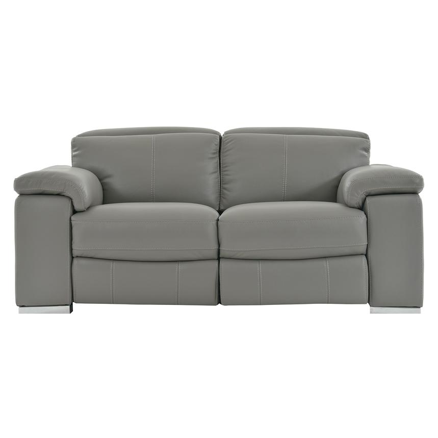 Charlie Gray Leather Power Reclining Loveseat  main image, 1 of 9 images.