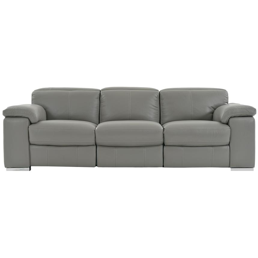 Charlie Gray Leather Power Reclining Sofa  main image, 1 of 9 images.