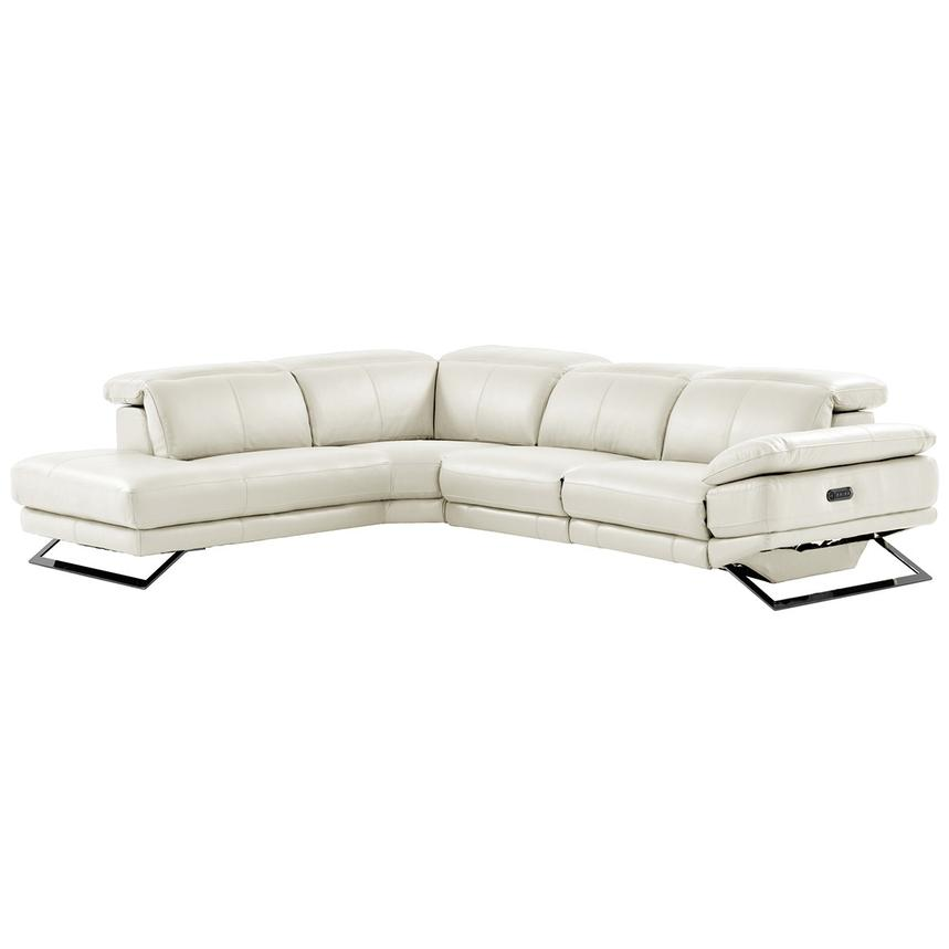 Toronto White Power Motion Leather Sofa w/Left Chaise  main image, 1 of 11 images.