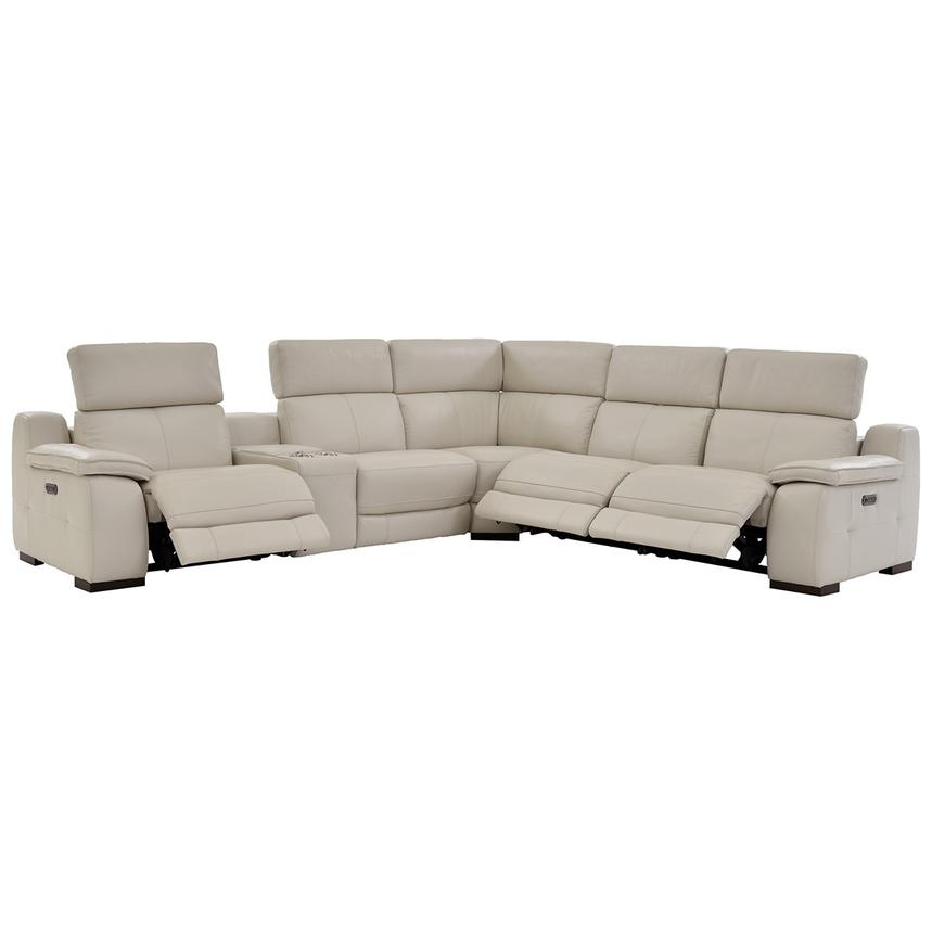 Gian Marco Cream Power Motion Leather Sofa w/Right & Left Recliners ...