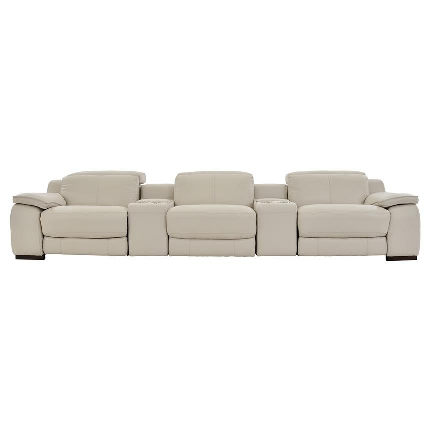 Gian Marco Cream Home Theater Leather Seating  main image, 1 of 8 images.