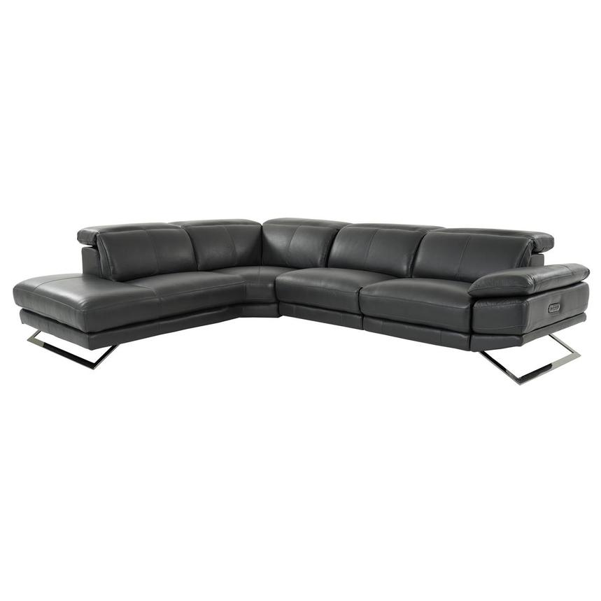 Toronto Dark Gray Leather Power Reclining Sofa w/Left Chaise  main image, 1 of 10 images.