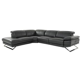 Toronto Dark Gray Leather Power Reclining Sofa w/Left Chaise