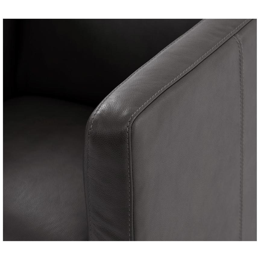 Cute Dark Gray Leather Swivel Chair  alternate image, 6 of 6 images.