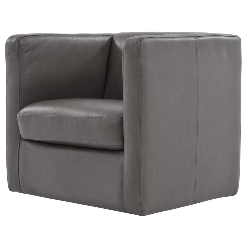 Cute Light Gray Leather Swivel Chair  alternate image, 2 of 7 images.