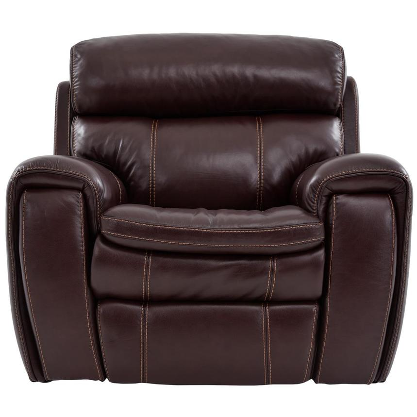 Napa Burgundy Leather Power Recliner  main image, 1 of 8 images.