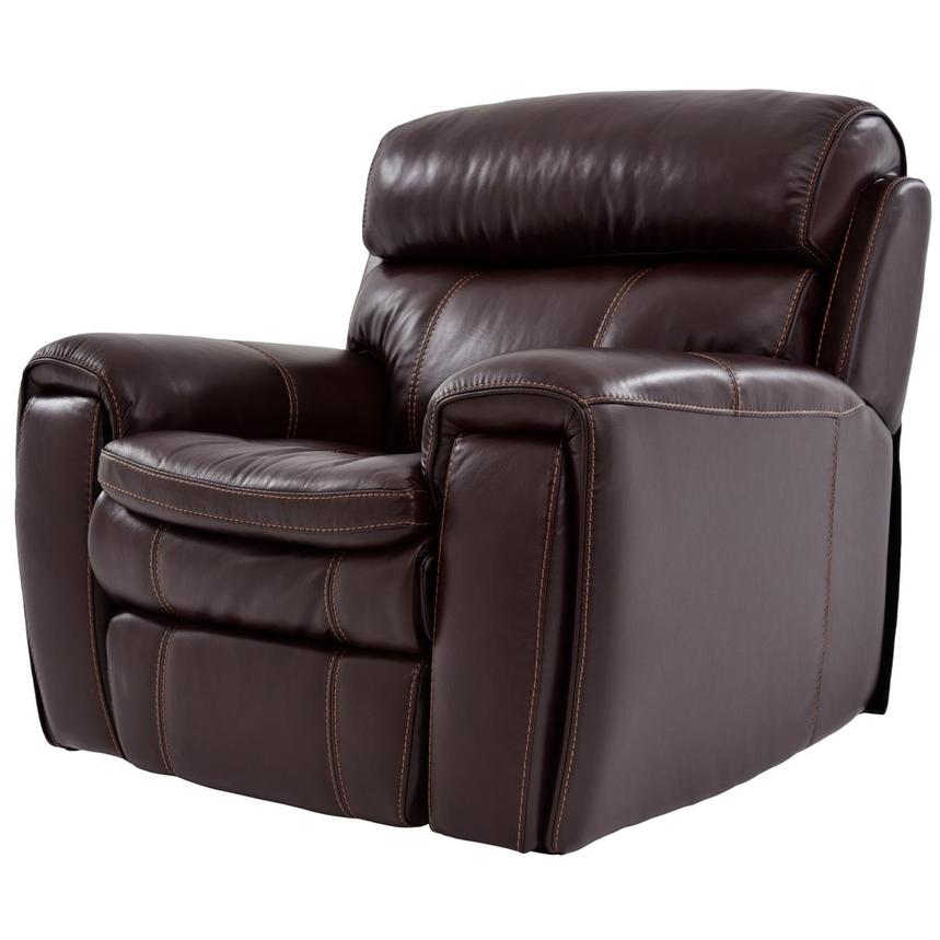 Napa Burgundy Leather Power Recliner  alternate image, 2 of 9 images.