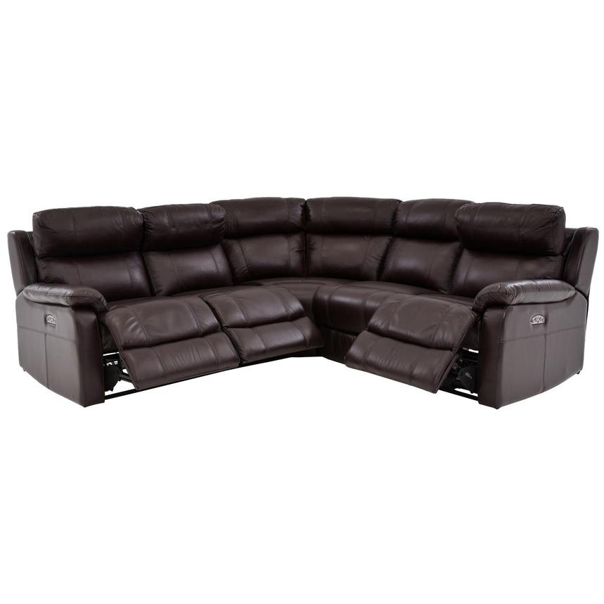 Ronald 2.0 Brown Power Motion Leather Sofa w/Right & Left Recliners  alternate image, 2 of 6 images.