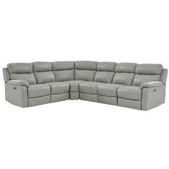 Ronald Gray Power Motion Leather Sofa w/Right & Left Recliners