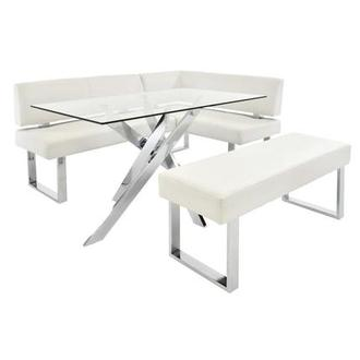 Linden Clear/White 3-Piece Right Corner Nook Set