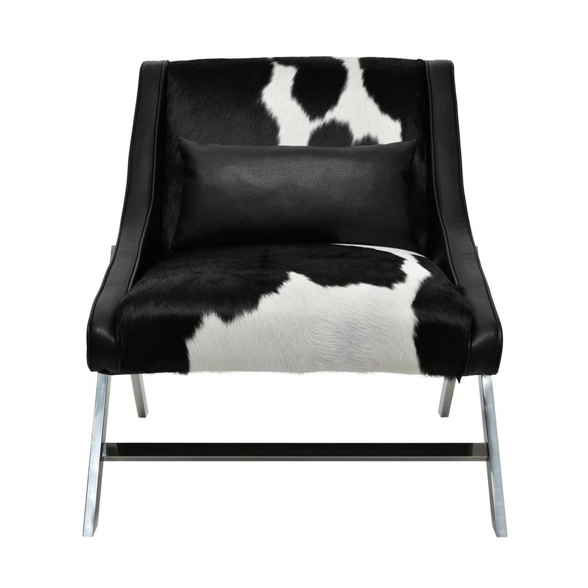 Krava Black Leather Accent Chair w/Ottoman  alternate image, 2 of 9 images.