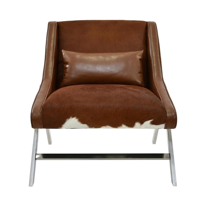 Krava Brown Leather Accent Chair w/Ottoman  alternate image, 2 of 9 images.