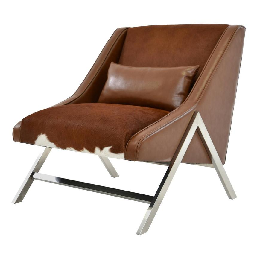 Krava Brown Leather Accent Chair  alternate image, 2 of 5 images.
