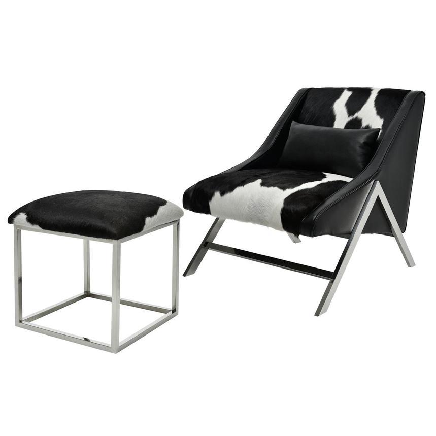 Awe Inspiring Krava Black Leather Accent Chair W Ottoman Machost Co Dining Chair Design Ideas Machostcouk