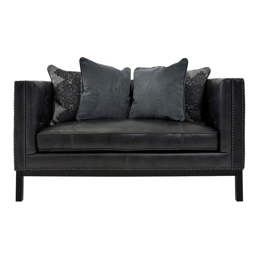 Sophia Gray Leather Loveseat  main image, 1 of 7 images.