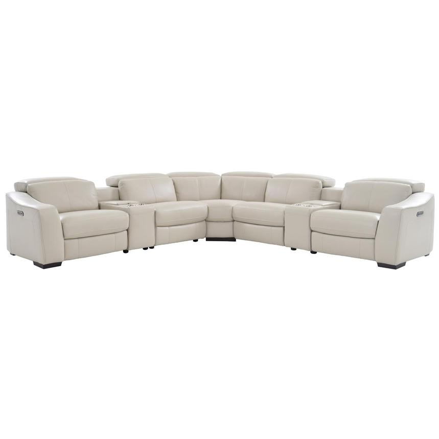 Jay Cream Leather Power Reclining Sectional El Dorado