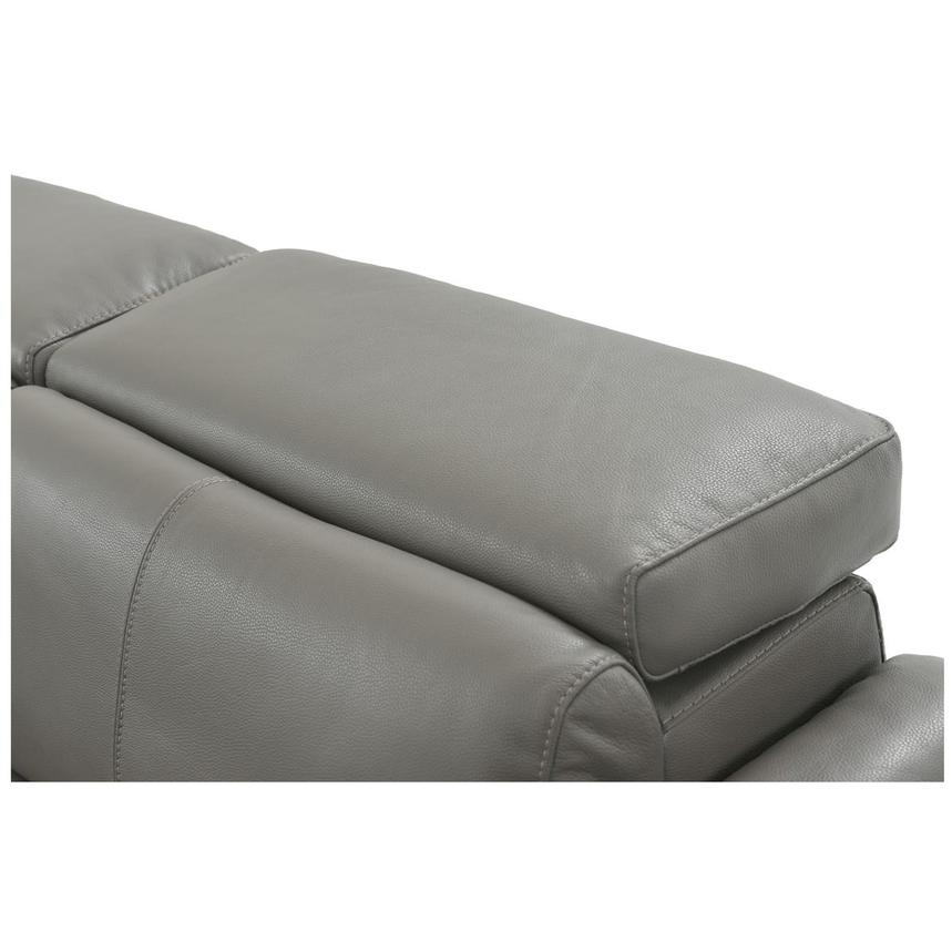 Charlie Gray Power Motion Leather Sofa w/Right & Left Recliners  alternate image, 6 of 9 images.