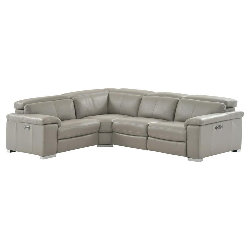 Charlie Light Gray Leather Power Reclining Sectional  main image, 1 of 9 images.