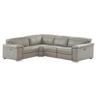 Charlie Light Gray Leather Power Reclining Sectional