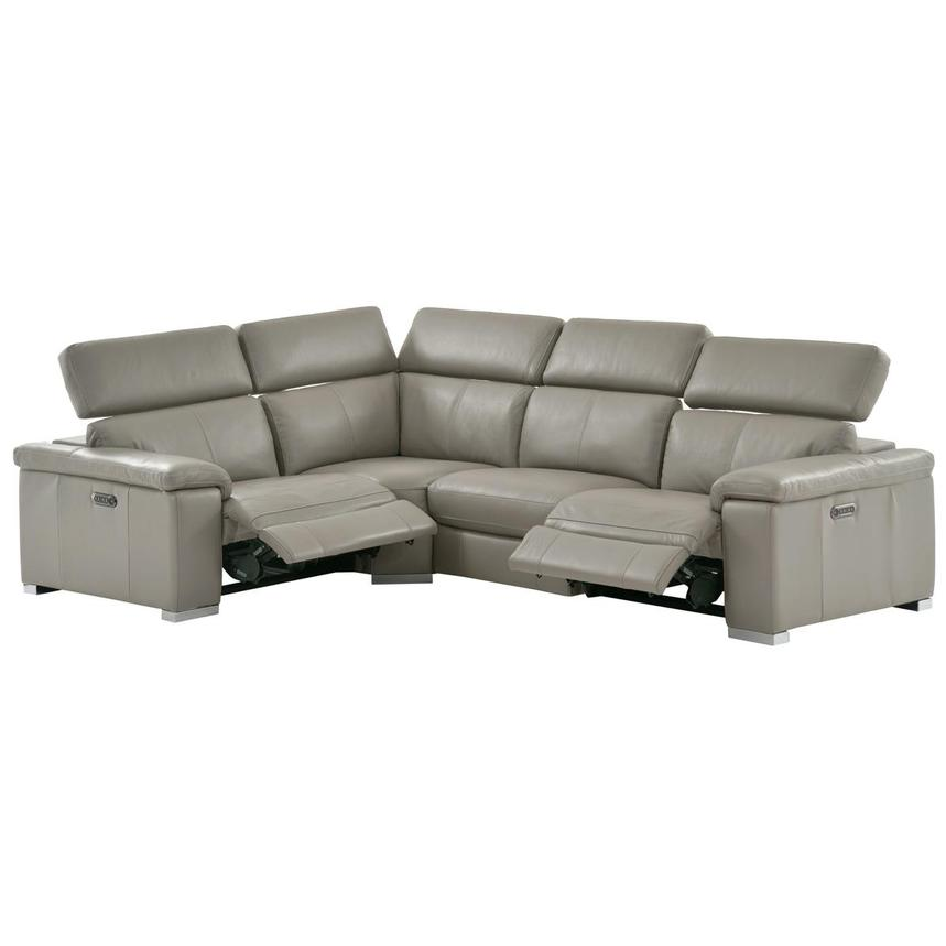 Charlie Light Gray Power Motion Leather Sofa w/Right & Left Recliners  alternate image, 2 of 9 images.