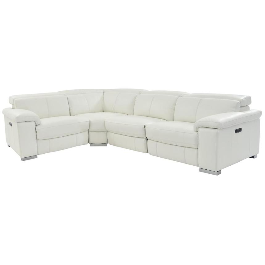 Charlie White Leather Power Reclining Sectional  main image, 1 of 11 images.