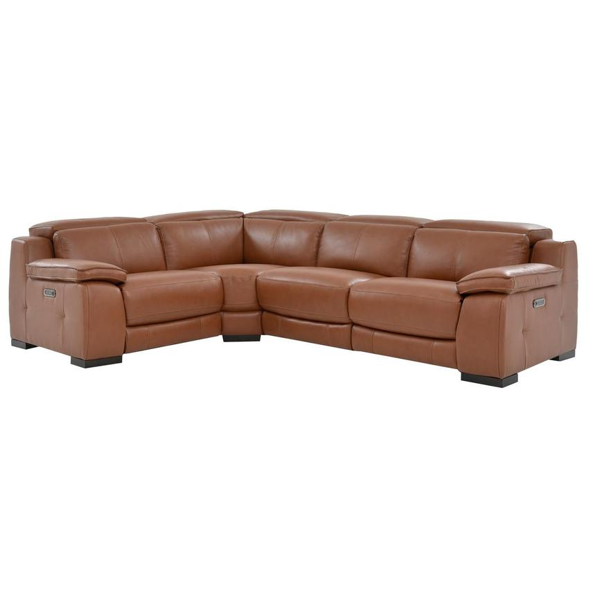 Gian Marco Tan Leather Power Reclining Sectional  main image, 1 of 6 images.