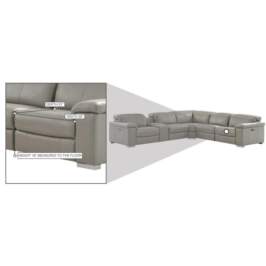 Charlie Light Gray Leather Power Reclining Sectional  alternate image, 10 of 11 images.