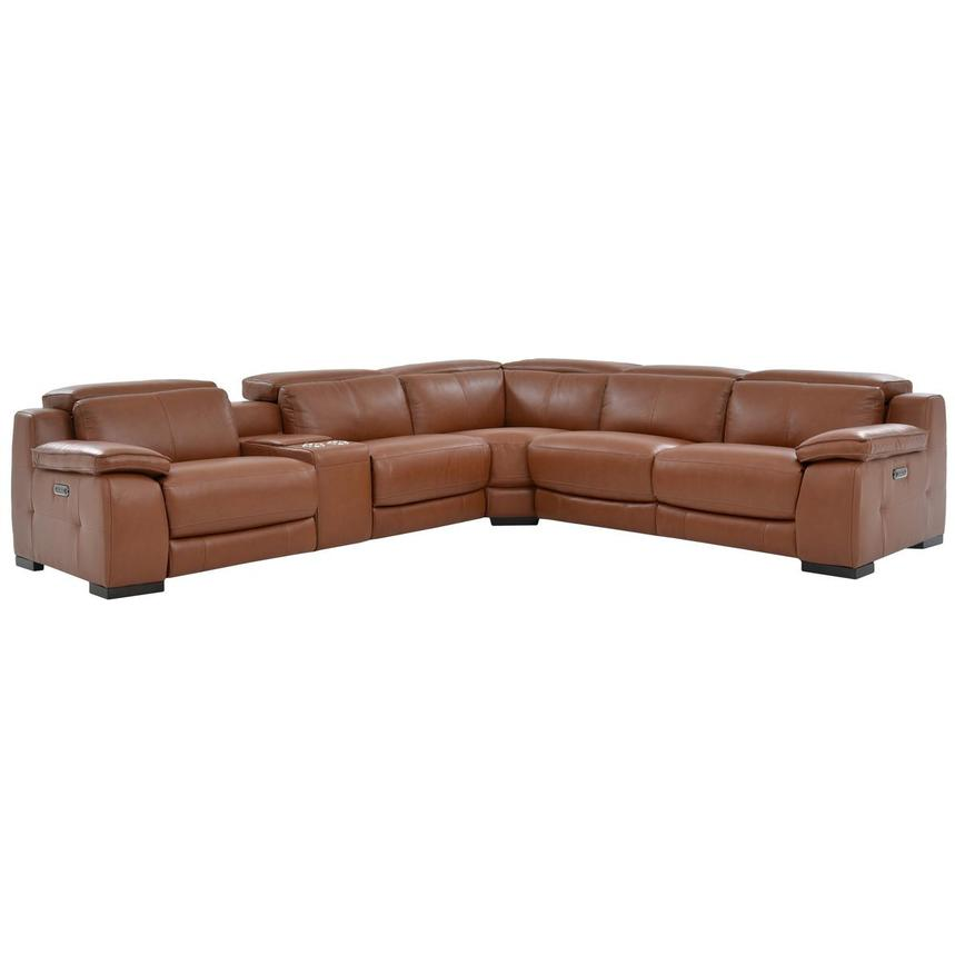 Gian Marco Tan Leather Power Reclining Sectional  main image, 1 of 9 images.