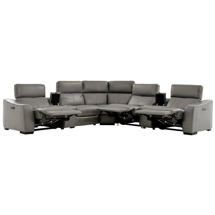 Jay Gray Power Motion Leather Sofa w/Right & Left Recliners  alternate image, 2 of 7 images.