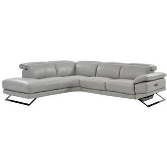 Toronto Light Gray Leather Power Reclining Sofa w/Left Chaise