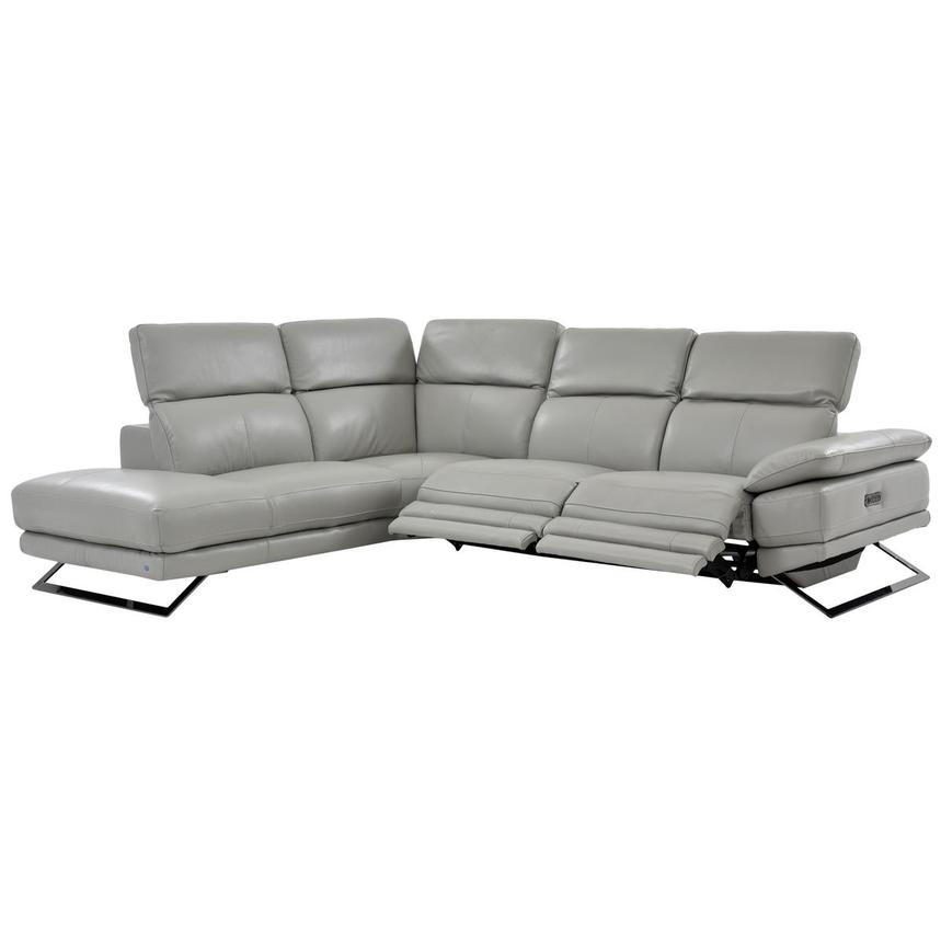 Toronto Light Gray Leather Power Reclining Sofa w/Left Chaise  alternate image, 2 of 7 images.