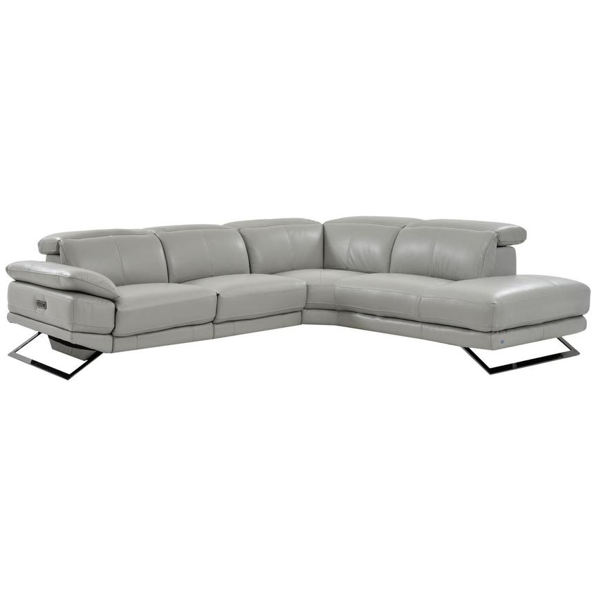 Toronto Light Gray Power Motion Leather Sofa w/Right Chaise  main image, 1 of 7 images.
