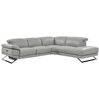 Toronto Light Gray Leather Power Reclining Sofa w/Right Chaise