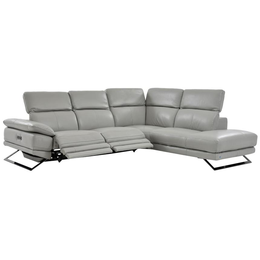 Toronto Light Gray Leather Power Reclining Sofa w/Right Chaise  alternate image, 2 of 7 images.