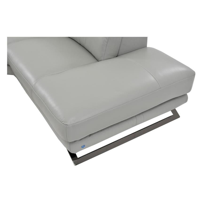 Toronto Light Gray Power Motion Leather Sofa w/Right Chaise  alternate image, 6 of 7 images.
